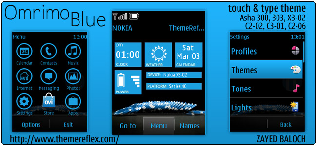 Omnimo Blue theme for Nokia Asha 303/300, C2-06 and Touch & Type