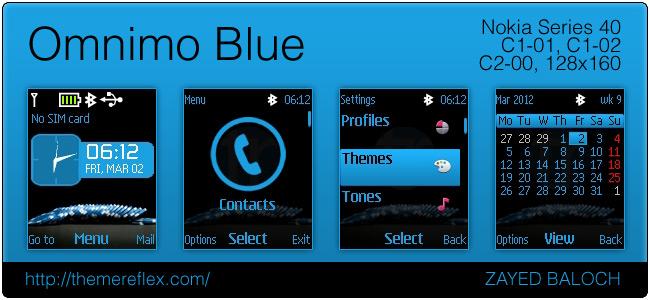 Omnimo Blue theme for Nokia C1-01, C2-00 & 128×160