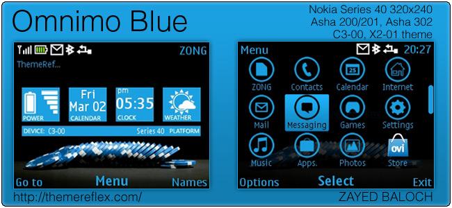 Omnimo Blue theme for Nokia Asha 302, C3-00 & X2-01