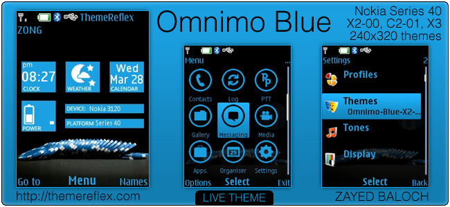 Omnimo Blue theme for Nokia X2-00, C2-01 & 240×320