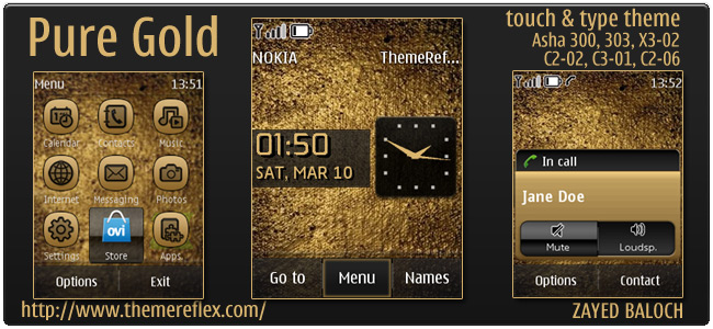 Pure Gold theme for Nokia Asha 303/300, X3-02, C2-06, Touch & Type