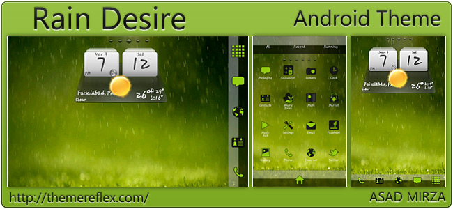 Rain Desire theme for Galaxy Y, Galaxy Note, HTC Desire and Android