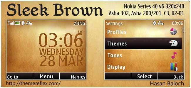 Sleek Brown theme for Nokia Asha 302, C3, X2-01 & Asha 200/201