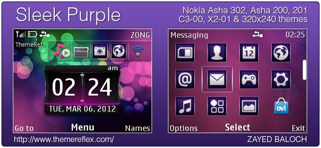 Sleek Purple theme for Nokia Asha 302, Asha 201/200, C3 & X2-01
