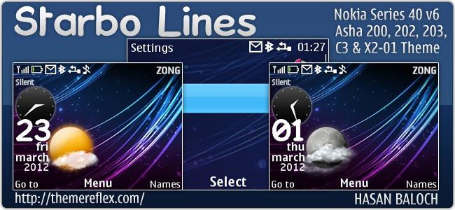 Starbo Lines theme for Nokia C3, X2-01 & Asha 302, 200/201