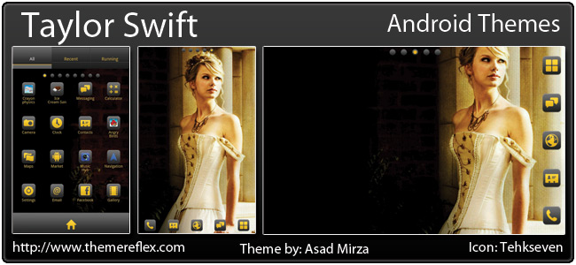 Taylor Swift theme for Galaxy Note, Galaxy Y, HTC Desire & other Android device