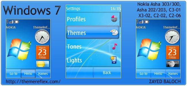 Windows 7 theme for Nokia Asha 303/300, X3-02, C2-02 and Touch & Type