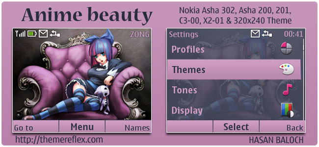 Anime Beauty Theme for Nokia C3, X2-01 & Asha 200,201,302