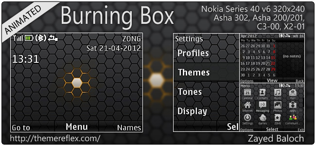 Burning Box animated theme for Asha 302, C3-00, X2-01 & 320×240