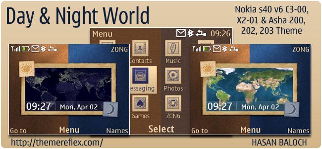Day & Night World theme for Nokia C3, X2-01 & Asha 200,201,302