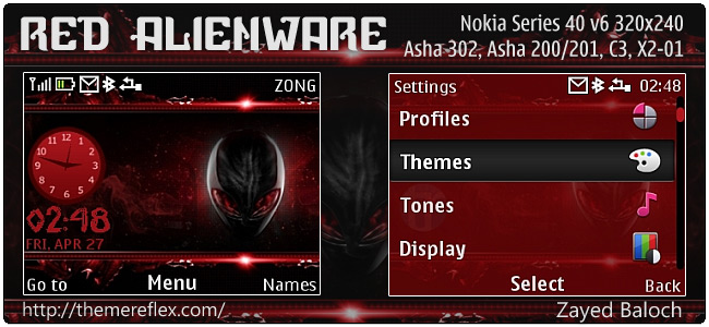 Red Alienware theme for Nokia Asha 302, C3-00, X2-01 & 320×240