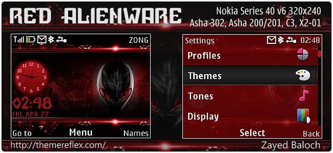 Red Alienware theme for Nokia Asha 302, C3-00, X2-01 & 320×240