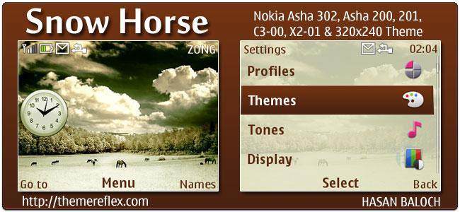 Snow Horse Theme for Nokia C3, X2-01 & Asha 200,201,302
