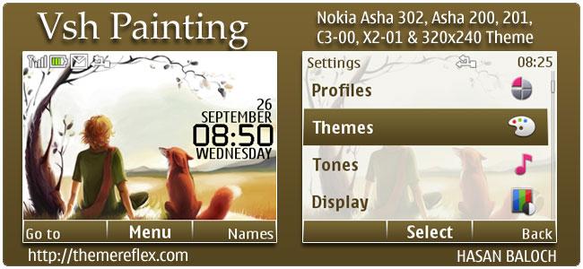 Vsh Painting theme for Nokia Asha 302, C3-00, X2-01 & 320×240