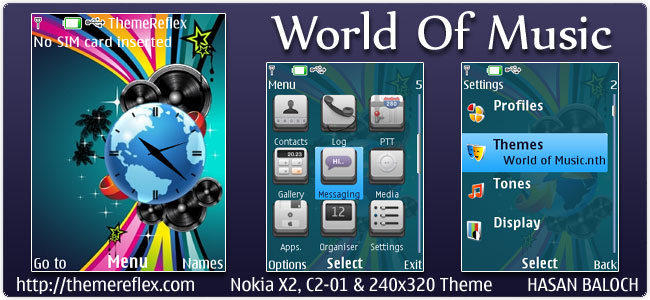 World Of Music Theme for Nokia X2, C2-01 & 240×320