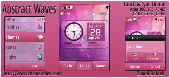 Abstract Waves theme for Nokia Asha 303, X3-02 C2-06 & Touch and Type