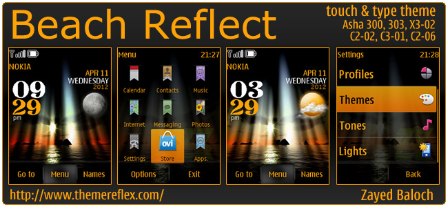Beach Reflect theme for Nokia Asha 303/300, X3-02, C2-06, Touch & Type