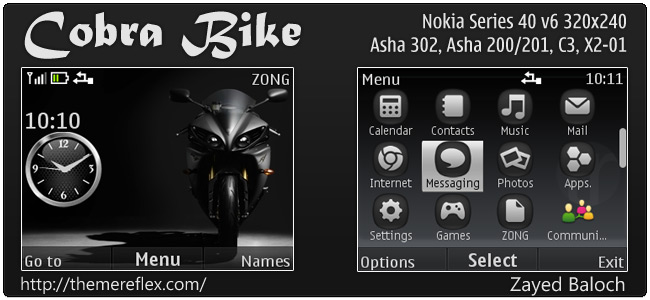 Cobra Bike theme for Nokia Asha 302, C3-00, X2-01 & 320×240