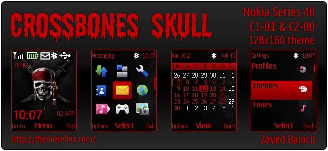 Crossbones Skull theme for Nokia C1-01, C2-00 & 128×160