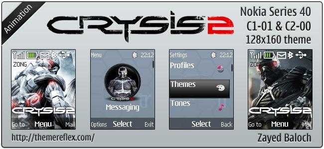 Crysis 2 animated theme for Nokia C1-01, C2-00 & 2690