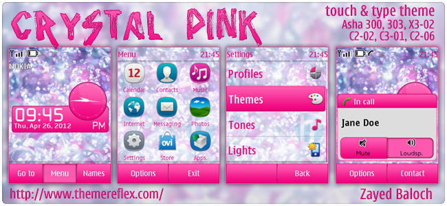 Crystal Pink theme for Nokia Asha 303/300, X3-02, C2-06 & C3-01