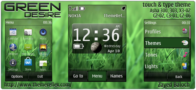 Green Desire Live theme for Nokia Asha 300/303, X3-01, Touch & Type