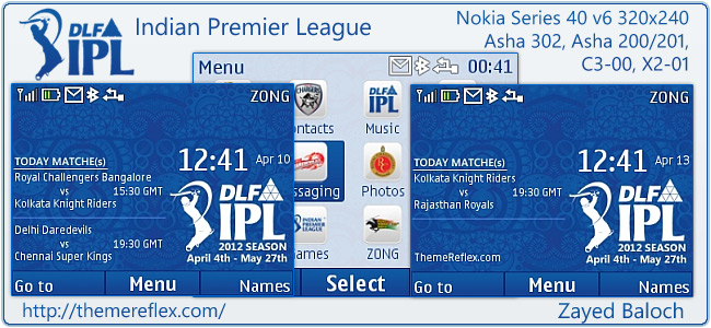 IPL 5 Schedule theme for Nokia Asha 302, C3-00, X2-01 & 320×240