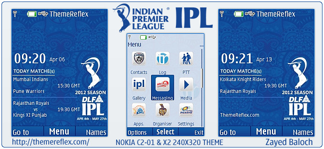 IPL 5 Schedule theme for Nokia X2-00, C2-01, X2 & 240×320