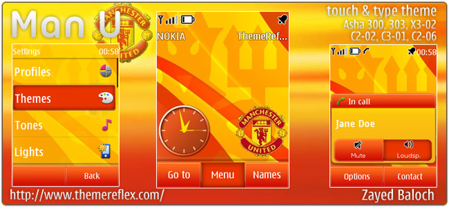 Manchester United theme for Nokia Asha 303, X3-02, Touch & Type