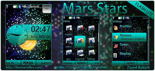 Mars Stars theme for Nokia X2-00, C2-01, X3 & 240×320