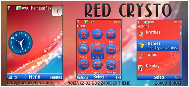 Red Crysto theme for Nokia X2-00, C2-01, X3 & 240×320