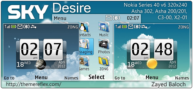 Sky Desire live theme for Nokia Asha 302, C3-00, X2-01 & 320×240