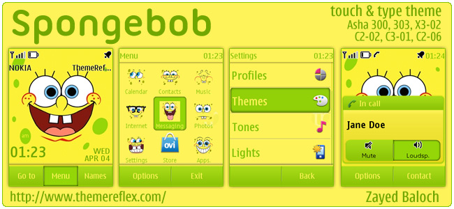 Spongebob theme for Nokia Asha 303, X3-02, C2-06, Touch & Type
