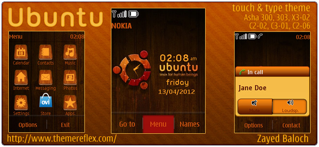 Ubuntu theme for Nokia Asha 303/300, X3-02, C2-06, Touch & Type