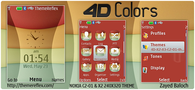 4D flash lite theme for Nokia X2, C2-01, X3 & 240×320