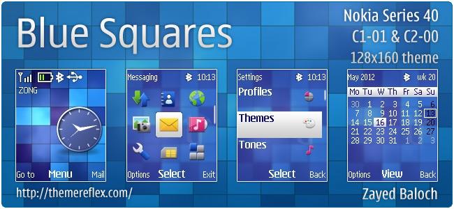 Blue Squares theme for Nokia C1-01, C2-00, 2690 & 128×160