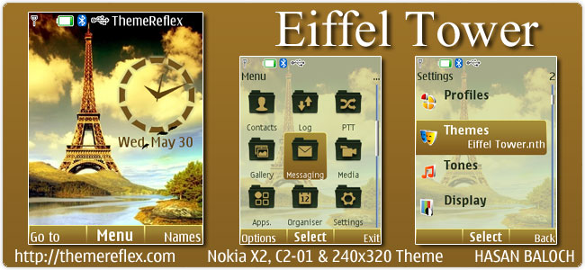 Eiffel Tower Theme for Nokia X2, C2-01 & 240×320