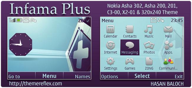 Infama Plus Theme for Nokia C3, X2-01 & Asha 200,201,302