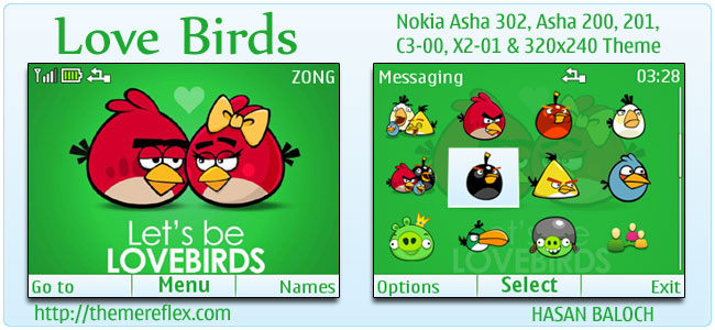 Love Birds Theme for Nokia C3, X2-01 & Asha 200,201,302