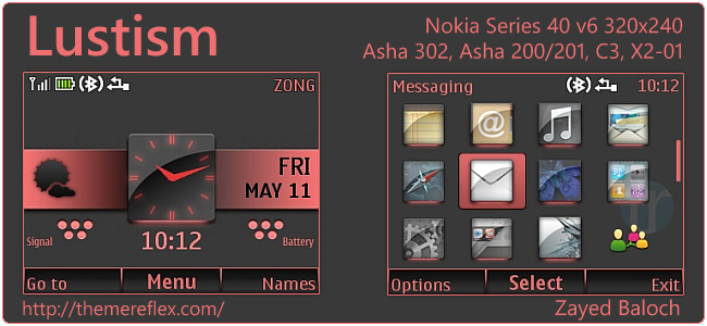 Lustism theme for Nokia Asha 302, C3, X2-01 & 320×240