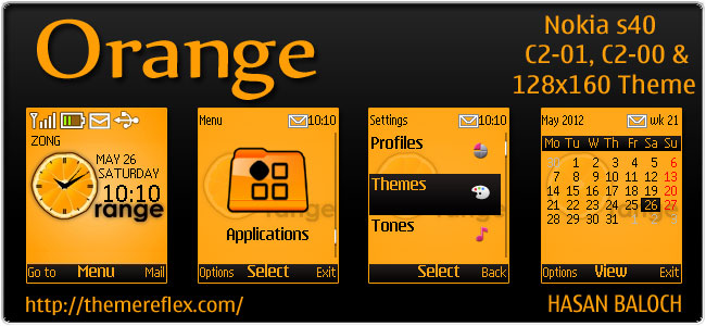 Orange Theme for Nokia 110, 112, C1-01, C2-00, & 128×160