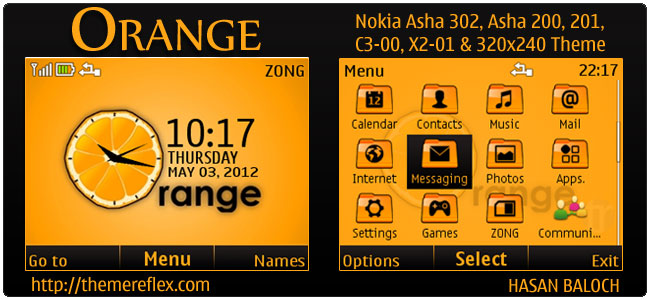 Orange Theme for Nokia C3, X2-01 & Asha 200,201,302