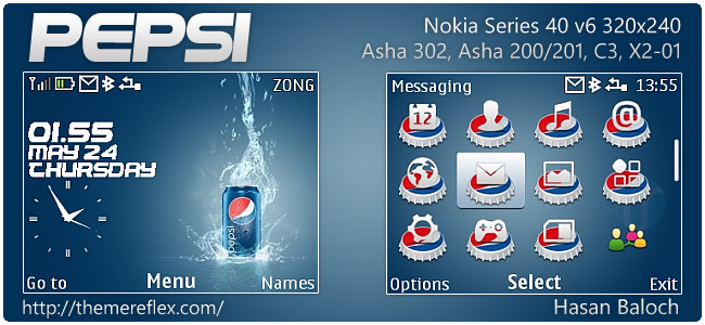 Pepsi theme for Nokia Asha 302, C3-00, X2-01 & 320×240