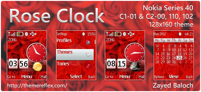 Rose Clock live theme for Nokia 110, 112, C1-01, C2-00, & 128×160