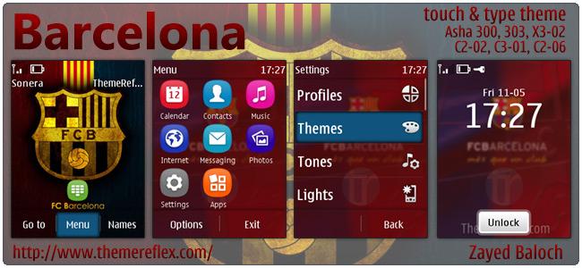Barcelona theme for Nokia Asha 303, X3-02, C2-06, Touch & Type