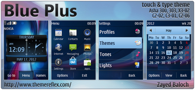 Blue Plus theme for Nokia Asha 303, X3-02, C2-06, Touch & Type (Updated)