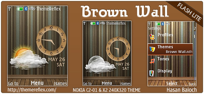 Brown Wall Live theme for Nokia X2, C2-01 & 240×320 (Updated)