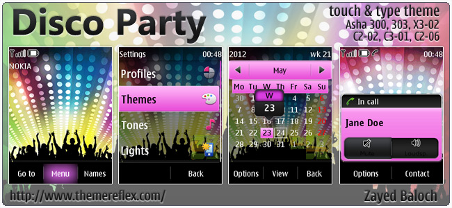 Disco Party theme for Nokia Asha 303, X3-02, C2-06, touch & type