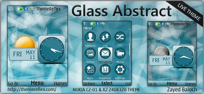 Glass Abstract live theme for Nokia X2-00, C2-01 & 240×320