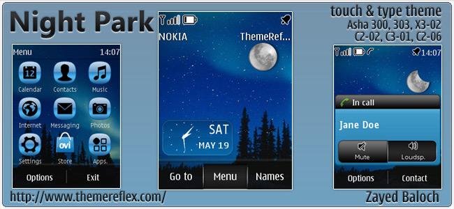 Night Park theme for Nokia Asha 303, C2-06, X3-02, touch & type